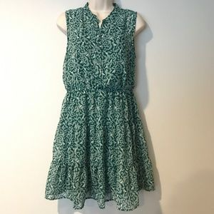 2/$20! Mossimo M Green Leaves & Birds Dress